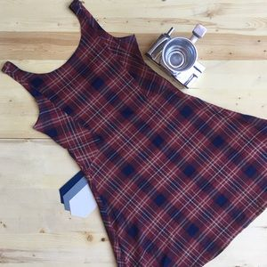 Plaid Fit and Flare Stretch Dress